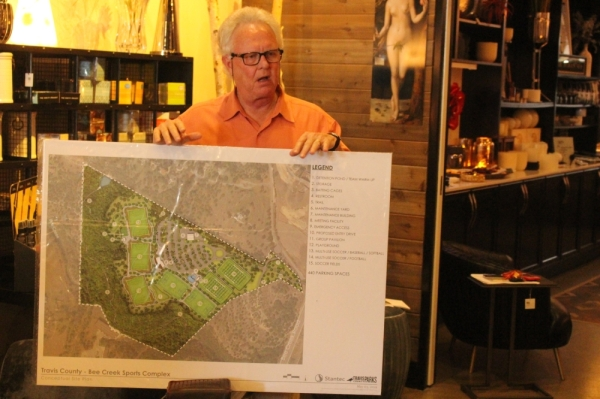 Travis County Commissioner Gerald Daugherty in May addressed constituents in Bee Cave regarding the $23 million Bee Creek Sports Complex. (Brian Rash/Community Impact Newspaper)
