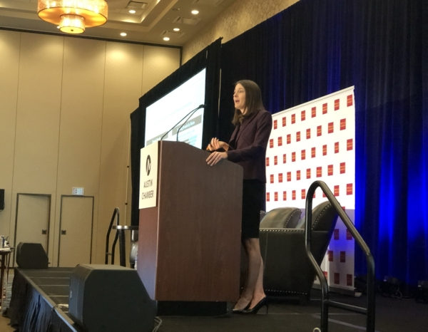 Sarah House, a Wells Fargo Securities senior economist and director, speaks at the Austin Chamber of Commerce's annual economic outlook, held Dec. 5 at the Hyatt Regency hotel in Austin. (Jack Flagler/Community Impact Newspaper)