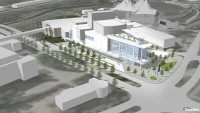 An artist's rendering captures a concept for a potential new performing arts center in The Woodlands. (Rendering courtesy The Woodlands Township)