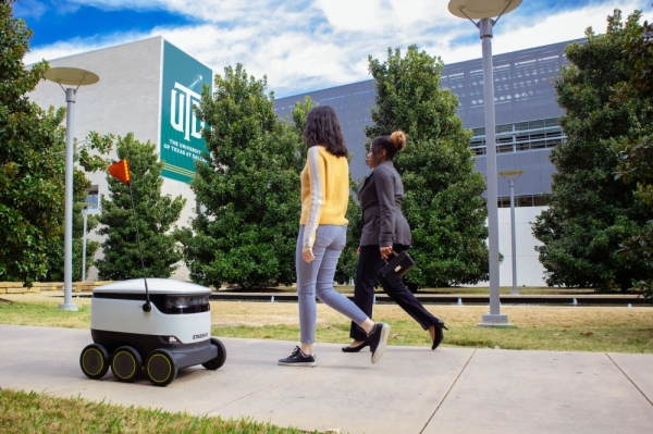 food delivery robot on UT Dallas campus