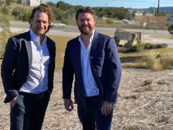 Byron Smith, left, and Tim Manson are planning to break ground on their new storage business called XSpace in late January. (Brian Rash/Community Impact Newspaper)