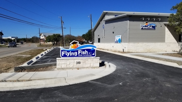 A photo of the exterior of Flying Fish Swim Academy.
