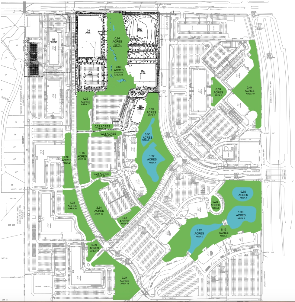 Two parks are planned over eight lots in Hall Park. (Site plan courtesy city of Frisco)