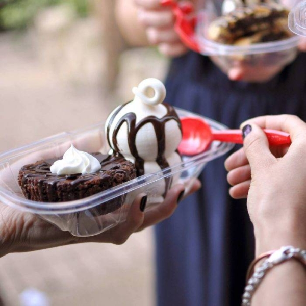 brownie sundae with a red spoon