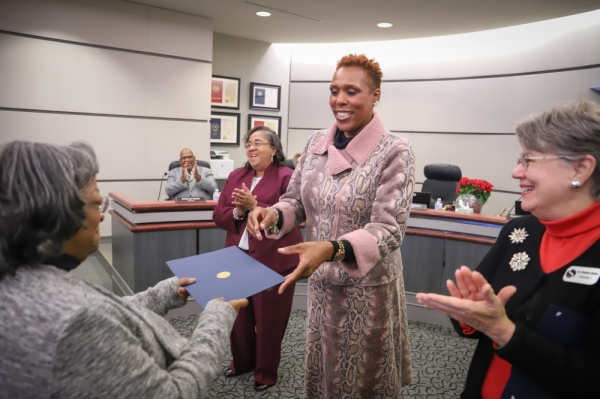 Following the Nov. 5 election, incumbents Deborah Jensen (right) and Justine Durant (left) as well as newcomer Kelly P. Hodges (center) took the oath of office for the Spring ISD board of trustees Dec. 10. (Courtesy Spring ISD)