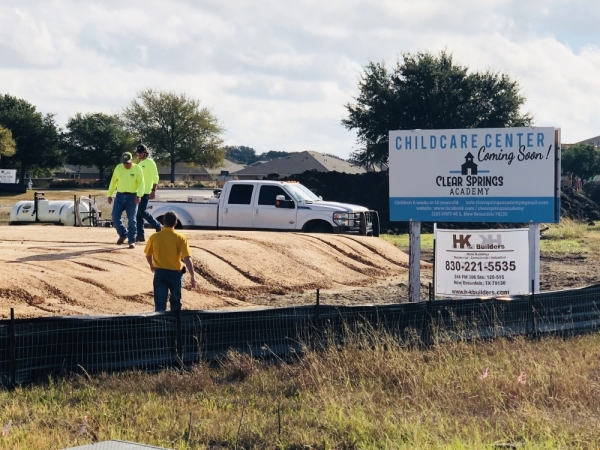 A Clear Springs Academy childcare center is under construction near Avery Park in New Braunfels. (Ian Pribanic/Community Impact Newspaper)