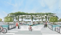 The proposed bridge design is in a wishbone shape and includes a plaza space at the center. (Rendering courtesy city of Austin)