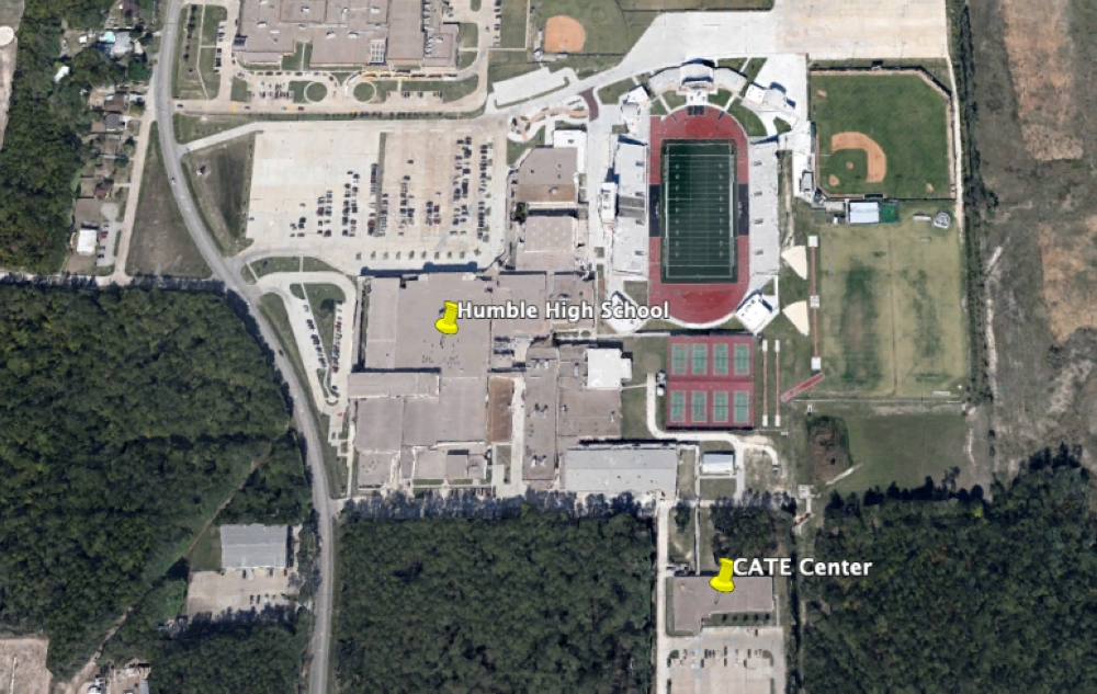 Quest Early College High School will move from within Humble High School to the nearby career and technical education center, or CATE Center, in August 2020. (Courtesy Google Maps)
