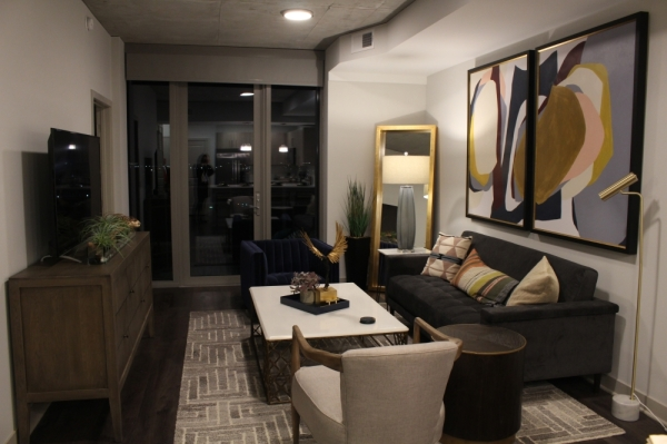 A one-bedroom apartment at SkyHouse Frisco Station. (Elizabeth Ucles/Community Impact Newspaper)