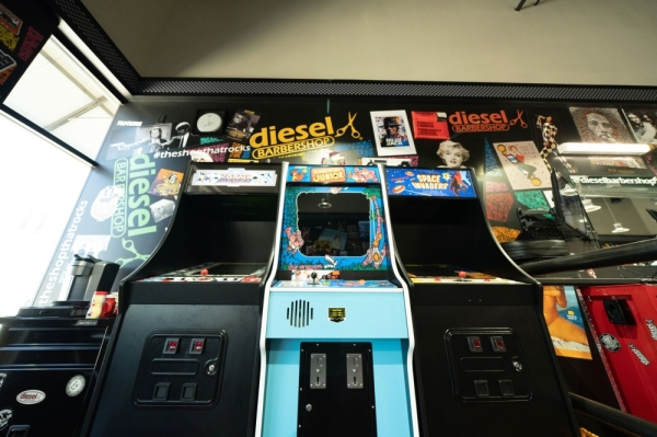 Diesel Barbershop will come with a vintage arcade for guests. (Courtesy Diesel Barbershop)