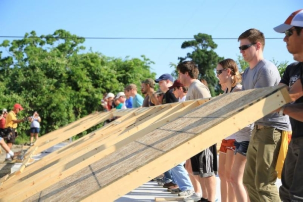 Volunteers help construct a house with Habitat For Humanity's Northwest Houston chapter. (Courtesy Habitat for Humanity)