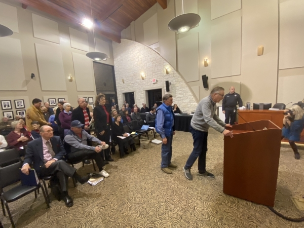 Residents lined up during the Dec. 16 City Council meeting to voice their opposition to a potential transportation project examined within the Lakeway Transportation Study. (Brian Rash/Community Impact Newspaper)