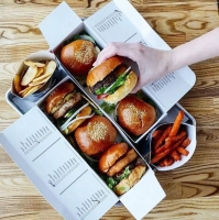 burgerim slider boxes and fries from above