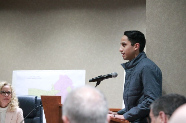 The Woodlands Pride President and CEO Jason Rocha asked the board to do more in communicating with the public. (Andy Li/Community Impact Newspaper)