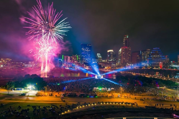 The city of Austin hosts a family-friendly and alcohol-free New Years' Eve bash with live music and a fireworks show. Courtesy Chris Sherman