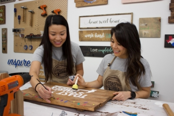Lisa Tan and Gina Nguyen opened their Round Rock craft studio, Toast   Timber, in September 2018. (Taylor Jackson Buchanan/Community Impact Newspaper)