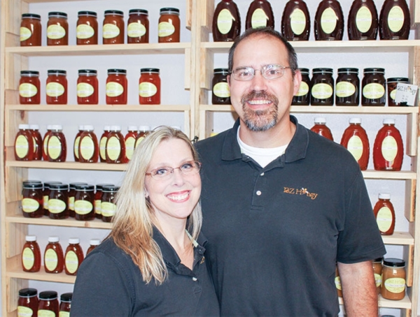 BZ Honey owners Kelly and Matthew Brantley will open Thirsty Bee Meadery on Commerce Street in January. (Anna Lotz/Community Impact Newspaper)