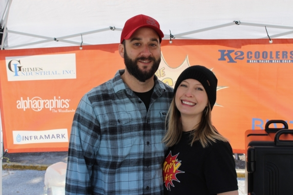 The Mighty Waffle founders Josh and Arielle Lewis began serving waffles at the Tomball Farmers Market in June as a way to raise funds and support the disability community, Arielle Lewis said. (Anna Lotz/Community Impact Newspaper)