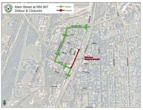 Part of Main Street in downtown Buda will be closed the weekend of Jan. 10-13. (Courtesy city of Buda)