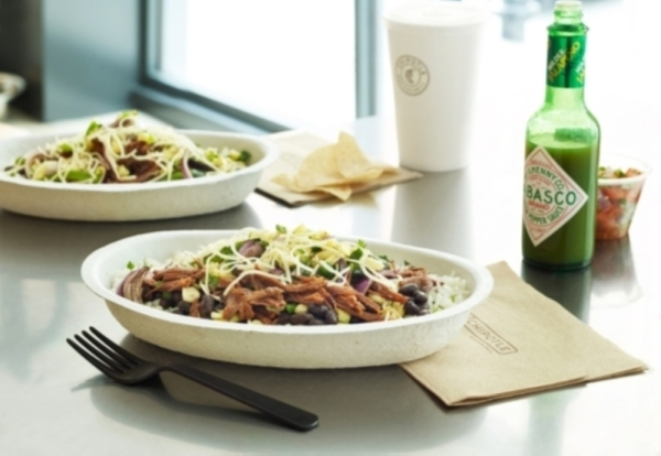 chipotle burrito bowl with green tabasco