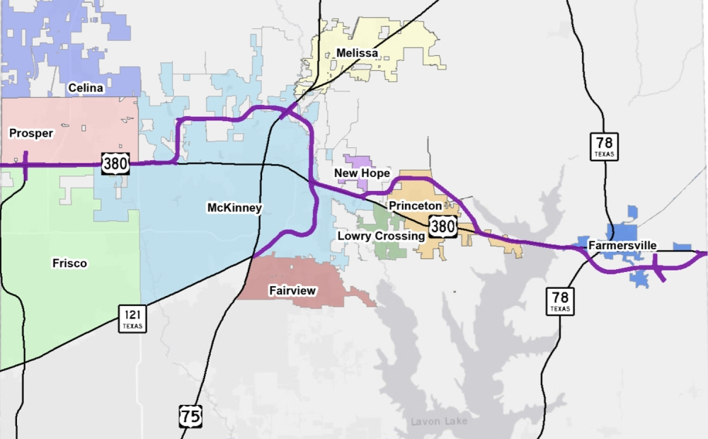 TxDOT presented its preferred US 380 alignment in May 2019. (courtesy city of McKinney)