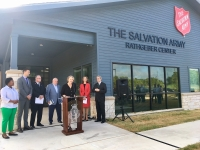 City officials and Salvation Army members gathered in front of the Rathgeber Center in September to publicly push for operating cost donations. (Christopher Neely/Community Impact Newspaper)