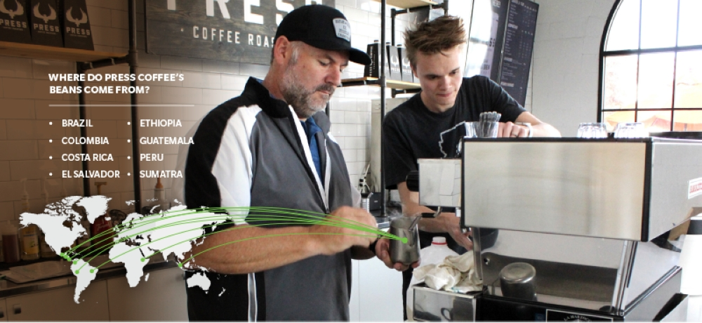 Steve Kraus owns Press Coffee Roasters, a local Chandler business that offers a variety of specialty coffee. (Alexa D'Angelo/Community Impact Newspaper)