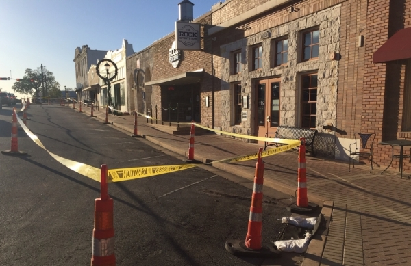 Work on a downtown beautification and improvement project began in January and is expected to wrap up by the end of June, according to a city news release. (Taylor Jackson Buchanan/Community Impact Newspaper)