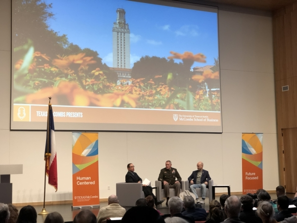 At a Jan. 8 panel discussion held at The University of Texas McCombs School of Business, Texas Tribune CEO and co-founder Evan Smith speaks with Gen. John M. Murray, the commander of the Army Futures Command, and Joshua Baer of the Capital Factory. (Jack Flagler/Community Impact Newspaper)