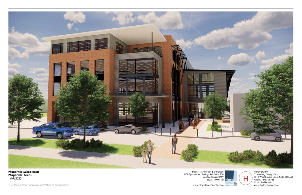 The Old Gin Pforum, a mixed-use development, is in the works for downtown Pflugerville. (Rendering courtesy Adeline Bui)