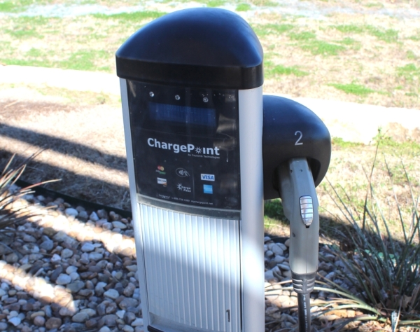 ChargePoint electric car charging stations, similar to this station in Pflugerville, will be coming to three Cedar Park facilities. BRIAN PERDUE/COMMUNITY IMPACT NEWSPAPER
