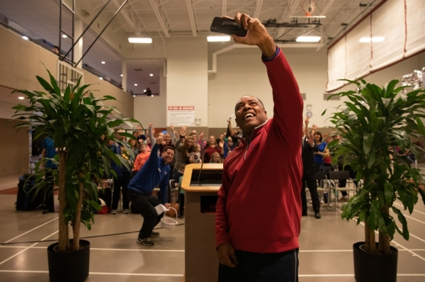 Photos and social media posts are used to gain points in the Its Time Texas Community Challenge. The crowd gathered at the Rec Fest kickoff for a selfie to gain 15,000 points for Plano. (Liesbeth Powers/Community Impact Newspaper)