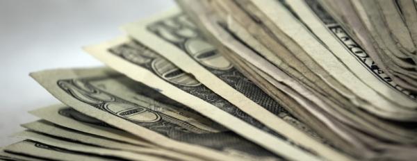 stack of twenty-dollar bills close-up