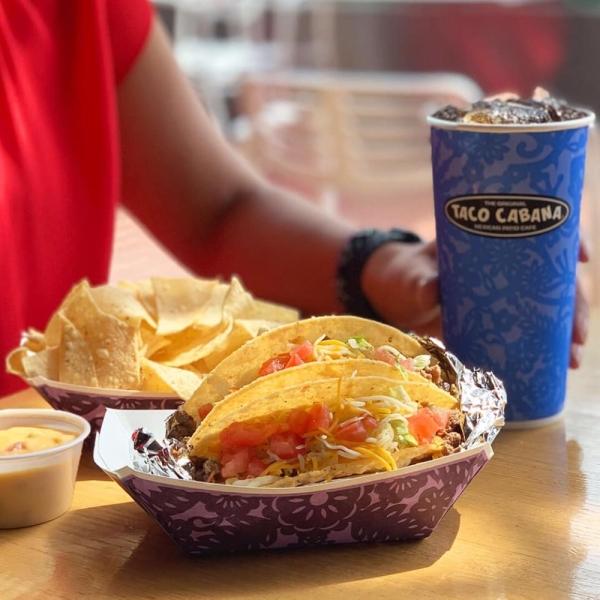 taco cabana tacos chips soda
