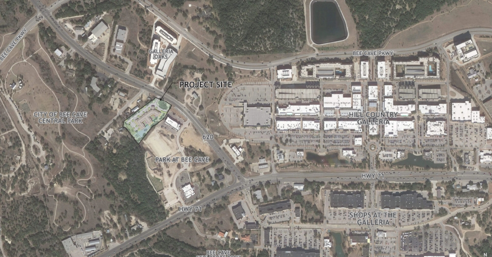 The proposed assisted-living facility would be west of the Hill Country Galleria. (Courtesy city of Bee Cave)