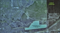 Willow Fork Drainage District is working on design plans for a 200-acre pilot retention pond within a 737-acre parcel of federal land south of Barker Reservoir. (Jen Para/Community Impact Newspaper; data collected by Wendy Duncan)