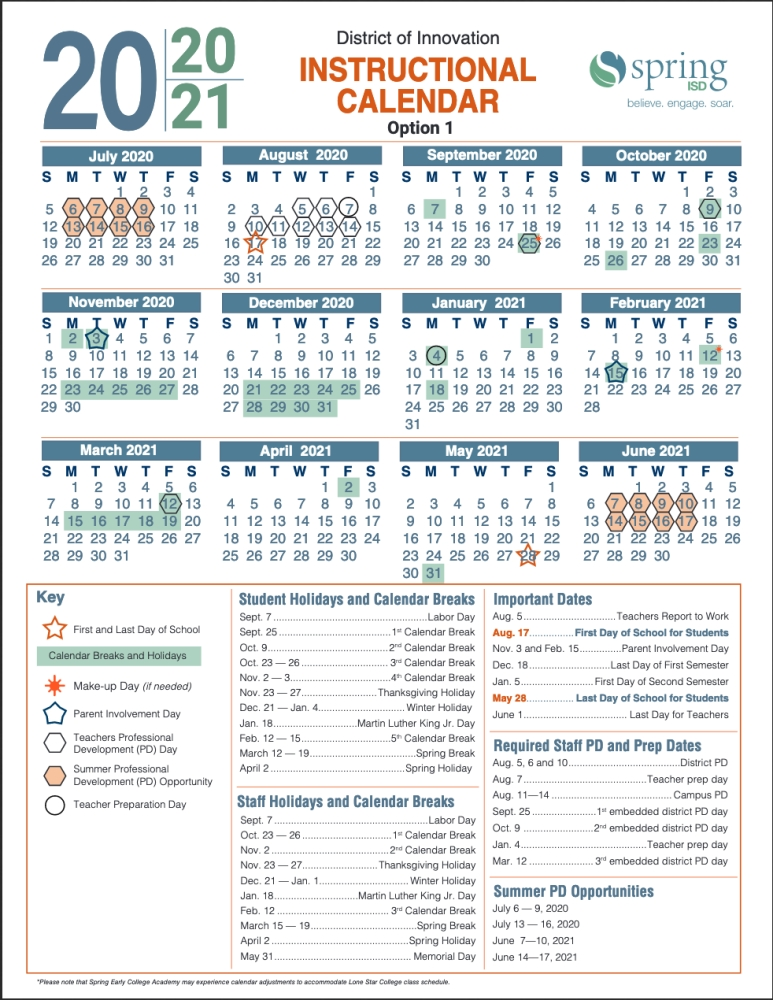 Spring ISD selects Option 1 for the 2020 21 instructional calendar