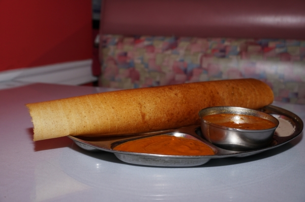 The masala dosa ($7.99) is a type of crepe made with lentil and rice flour stuffed with potato curry.