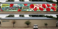 The top photo shows design plans for the mural; the bottom photo shows the current site. (Courtesy City of Georgetown)