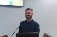 Jordan Maddox, planning team leader with Halff Associates, speaks the Jan. 16 presentation. (Brian Perdue, Community Impact Newspaper)