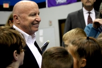 U.S. Rep. Kevin Brady, R-The Woodlands, speaks to students at Covenant Christian School. (Andy Li/Community Impact Newspaper)