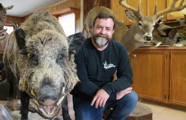 Barrett Simpson runs Conroe Taxidermy with his two brothers. (Andy Li/Community Impact Newspaper)