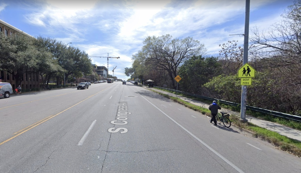 "Austin Transportation installed ""No parking"" signs in 2019 on South Congress Avenue to discourage illegal parking in bicycle lanes. (Courtesy Google Maps)"