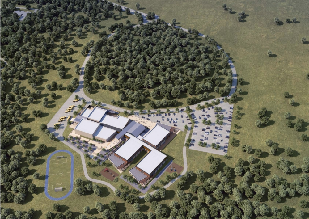 An aerial rendering of the schematic design for Dripping Springs ISD's fifth elementary school.