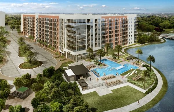 Two Lakes Edge's residential and retail spaces are expected to open at Hughes Landing in The Woodlands this spring. (Courtesy The Howard Hughes Corp.)