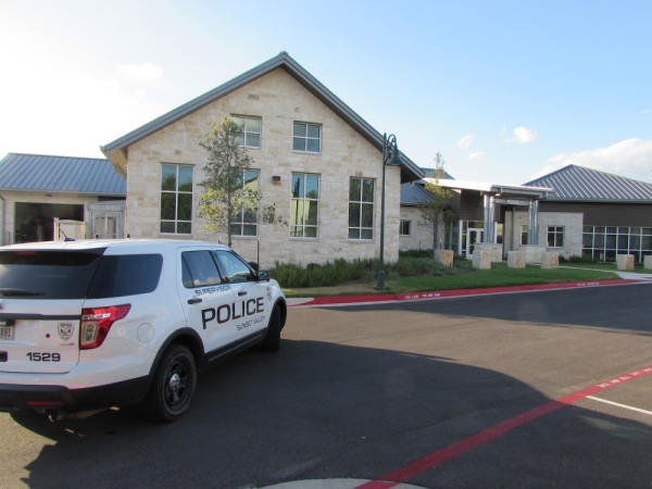 Construction on Sunset Valley city facilities including its new police building were completed in the early summer of 2019, but problems persist with its water features. (Nicholas Cicale/Community Impact Newspaper)