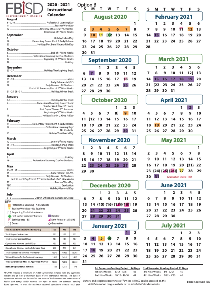 Ut Austin Calendar 2021 Key dates to know: Fort Bend ISD approves 2020 21 school calendar