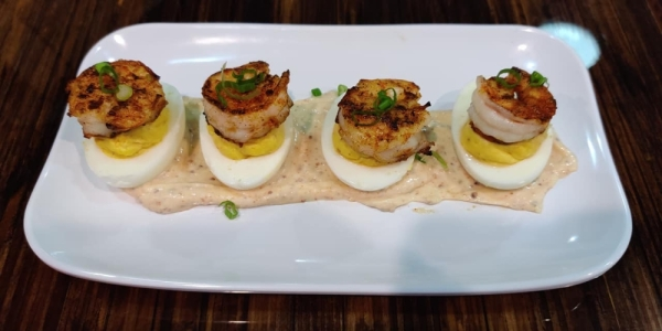 Deviled eggs with shrimp (Courtesy Lowens Seafood)