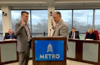Leander Mayor Troy Hill was sworn in as the newest member of the Capital Metro board of directors during its Jan. 27 meeting. (Amy Denney, Community Impact Newspaper)