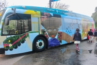 In 2020, Capital Metro will put 12 electric buses into service. The first two went into operation Jan. 26 and feature artwork from students in East Austin. (Amy Denney/Community Impact Newspaper)
